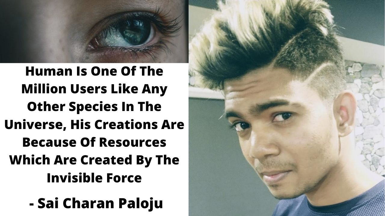 Human Is One Of The Million Users Like Any Other Species In The Universe, His Creations Are Because Of Resources Which Are Created By The Invisible Force